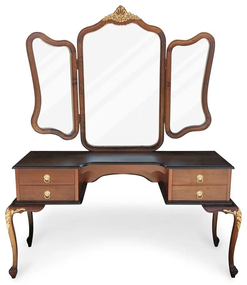 Penteadeira Luís XV Espelho Bisote Madeira Maciça Design de Luxo Peça Artesanal