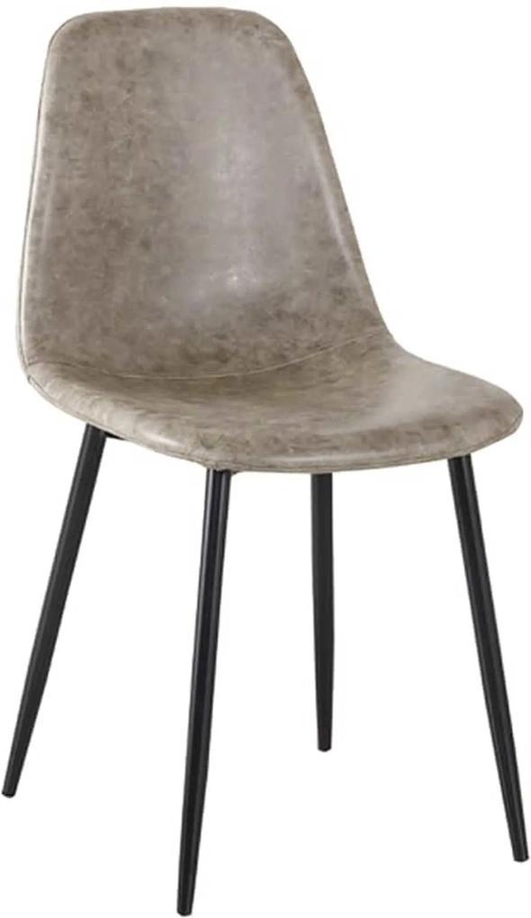 Cadeira Tania Pu Cinza Vintage Base Preta Rivatti