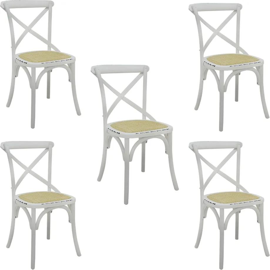 Kit 5 Cadeiras Decorativas Sala De Jantar Cozinha Danna Rattan Natural Branca - Gran Belo