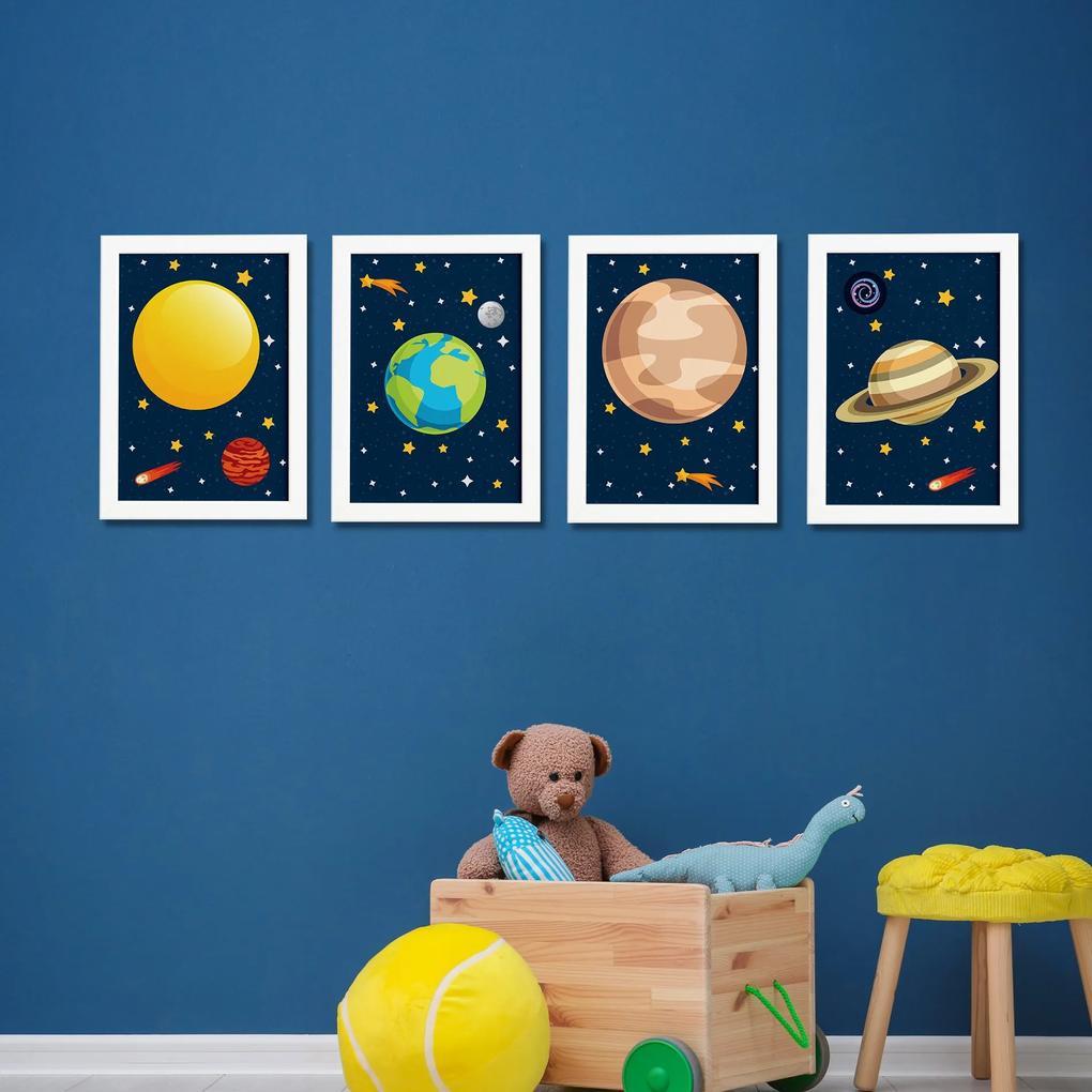 Quadros para Quarto Infantil Sistema Solar Planetas Kit 4un