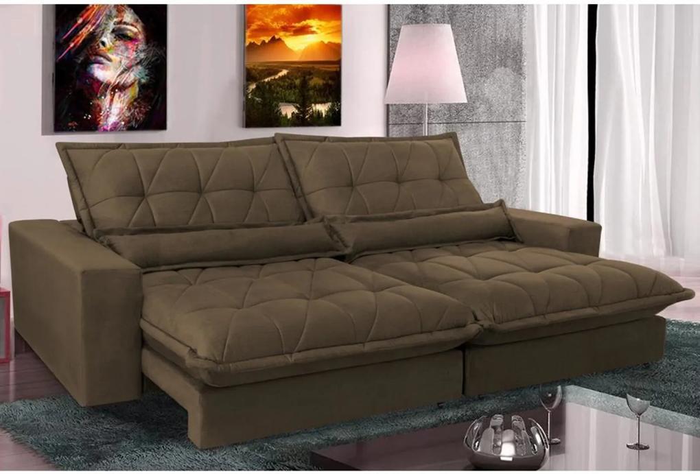Sofá Retrátil e Reclinável com Molas Ensacadas Cama inBox Soft 3,12m Tecido Suede Velusoft Café