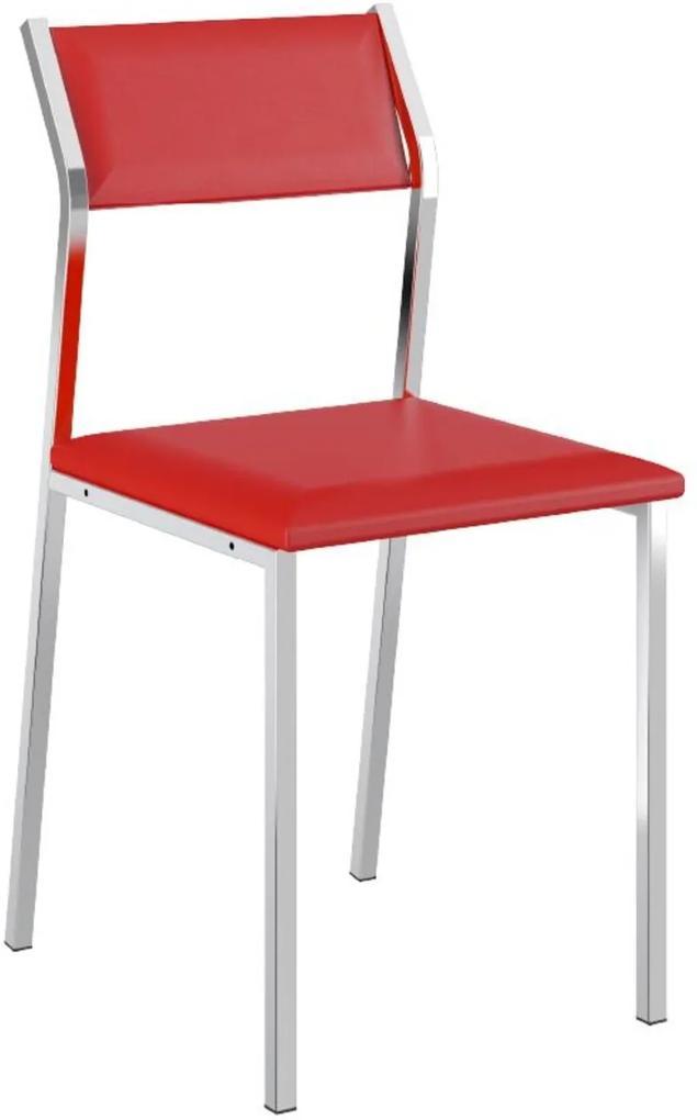 Cadeira Tubo Cromado Napa Vermelha Carraro