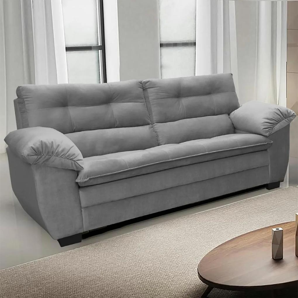 Sofá Macio com Fibra Premium 2,20mts 3 Lugares Tecido Suede Cinza