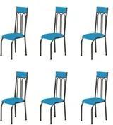 Kit 6 Cadeiras Anatômicas 0.120 Estofada Craqueado/Azul - Marcheli