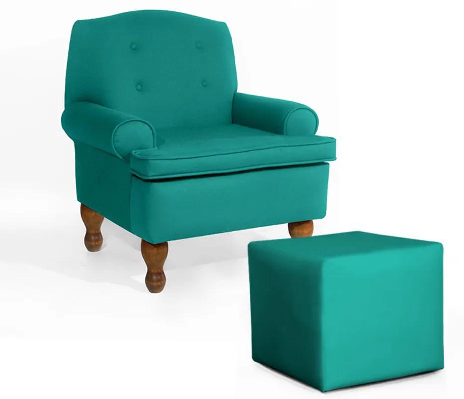 Conjunto Poltrona Vovó Lucy Decorativa + Puff Ana Suede Azul Tiffany