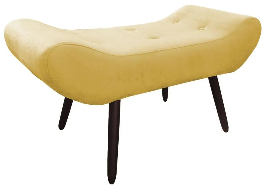 Puff Decorativo Marcela 100 cm com Pés Palito Suede Amarelo