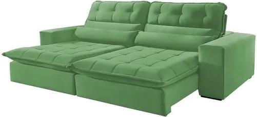Sofá Retrátil e Reclinável 4 Lugares Verde 2,50m Renzo