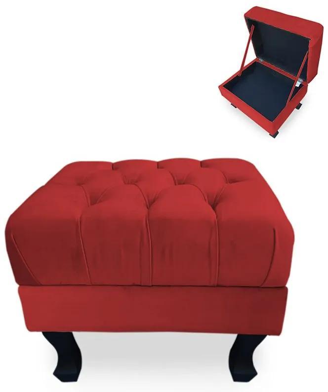 Puff Baú Decorativo Capitonê Luis XV 50x40cm Suede Vermelho - Sheep Estofados - Vermelho