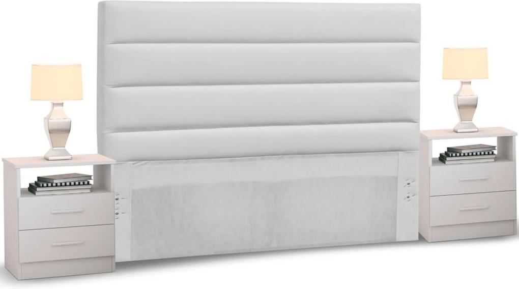 Cabeceira Cama Box Casal Queen 160cm Greta Corano Branco e 2 Mesas de Cabeceira AD1 Branco - Mpozenato