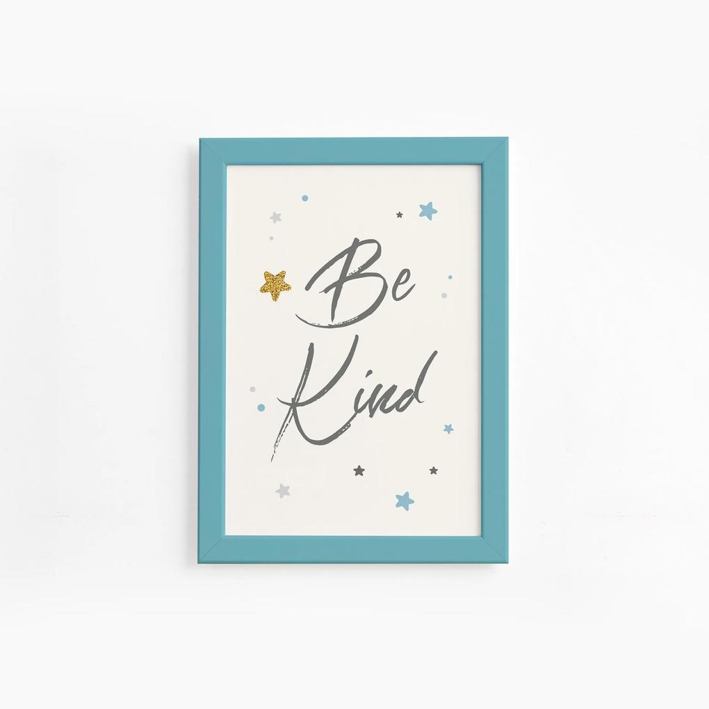 Quadro Frase Be Kind Azul e Estrela Moldura Azul 22x32cm