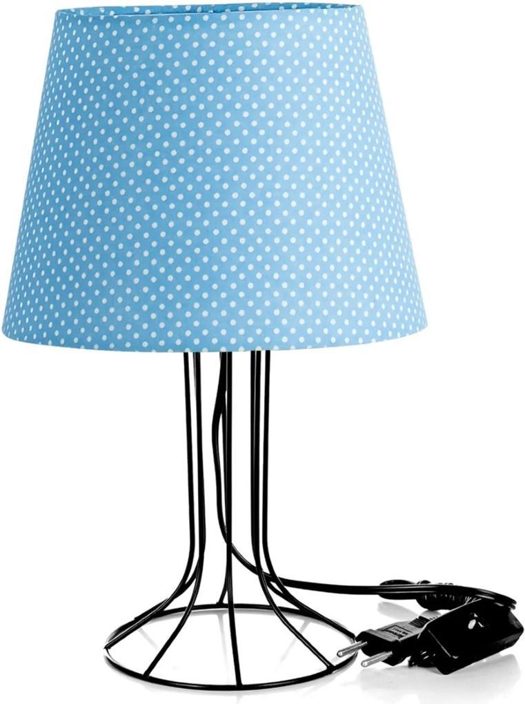 Abajur Torre Dome Azul/bolinha Com Aramado Cromado