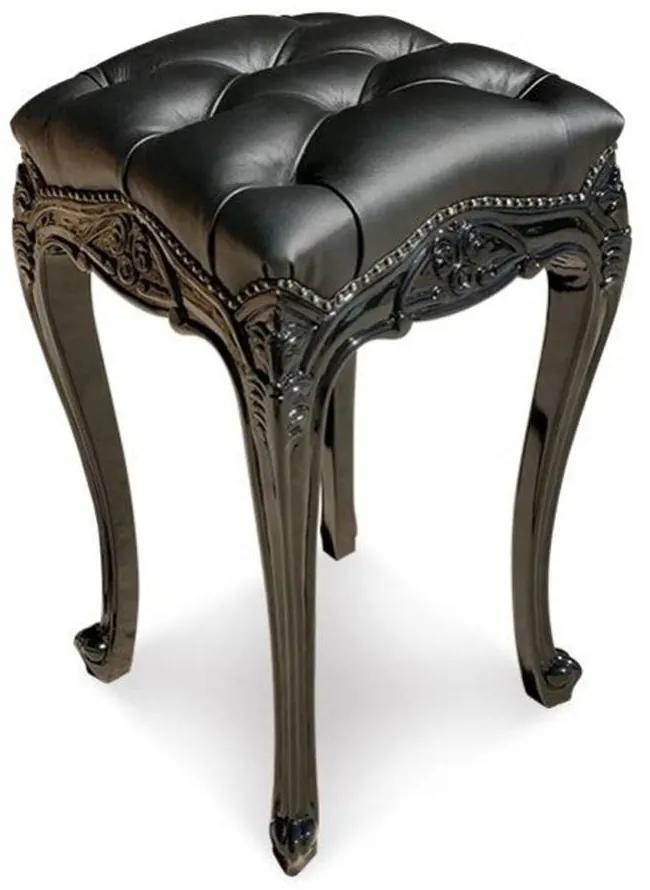 Banqueta Luís XV Capitonê Entalhada Madeira Maciça Design de Luxo Peça Artesanal