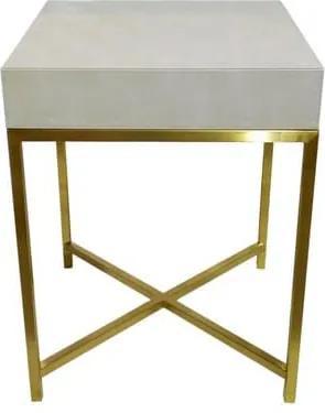 Mesa de Cabeceira em Metal Dourado Revestido em Couro Bege - 66x50x50cm