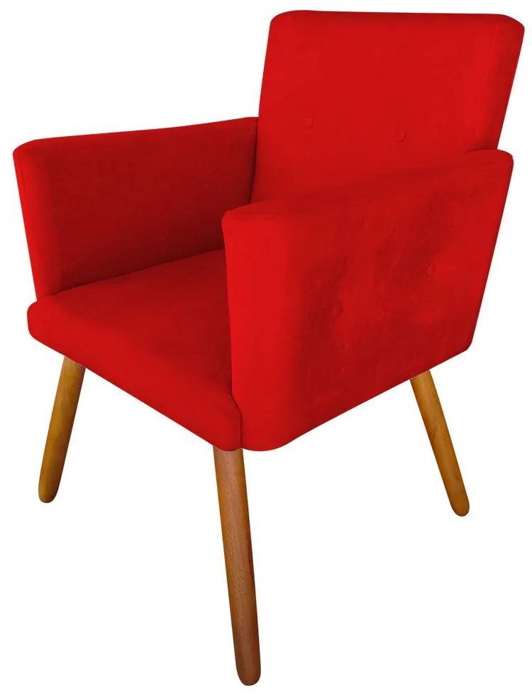 Poltrona Decorativa Nina Plus Suede Vermelho - Sheep Estofados - Vermelho
