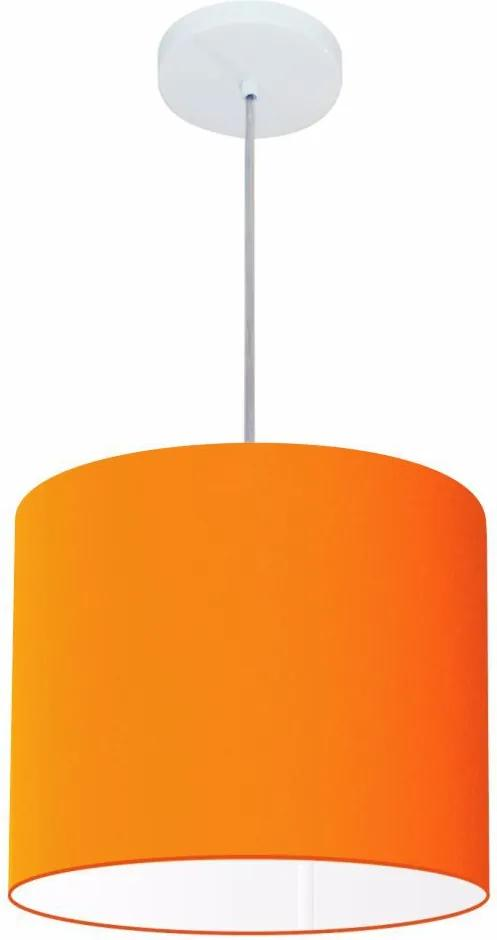 Lustre Pendente Cilíndrico Md-4113 Cúpula em Tecido 30x25cm Laranja - Bivolt