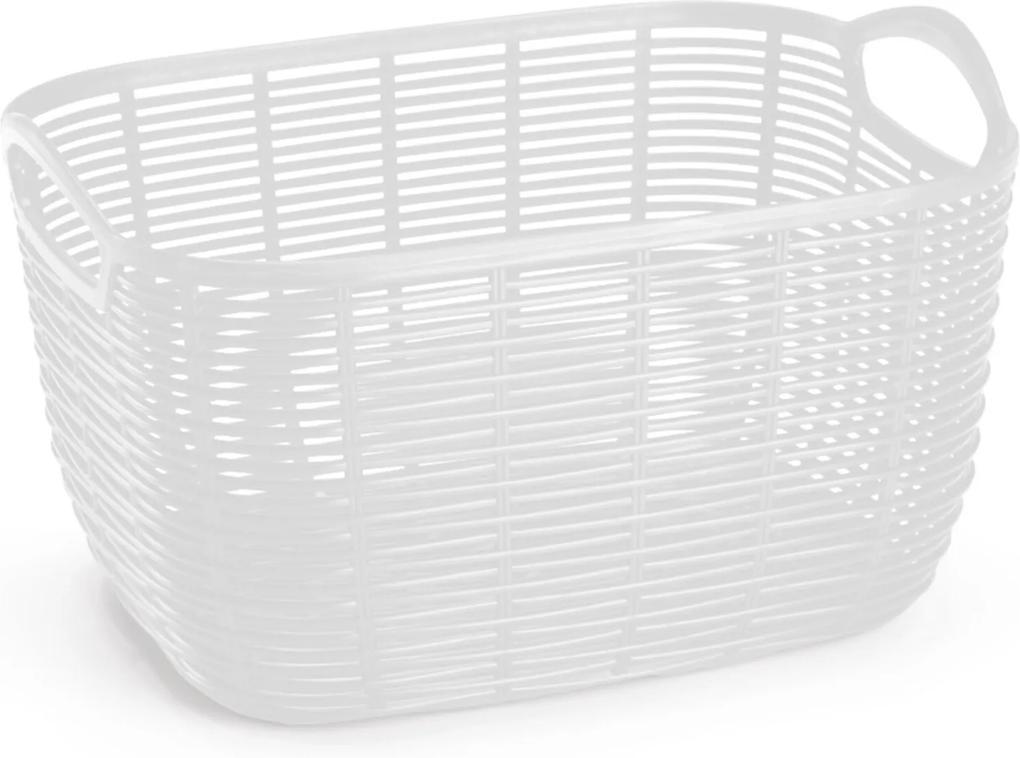 Cesto Organizador de Plástico Vime Médio Branco 29,4x 21x17cm