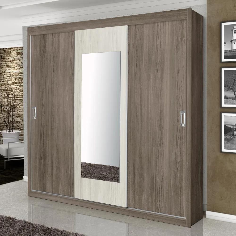 Guarda-Roupa Casal 3 Portas Correr C Espelho Monte Carlo 100% Mdf Carva/Avelã - Gabrielli Móveis