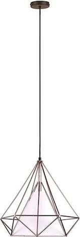 Pendente Metal Aramado Marrom Branco Pyramid Ø50cm
