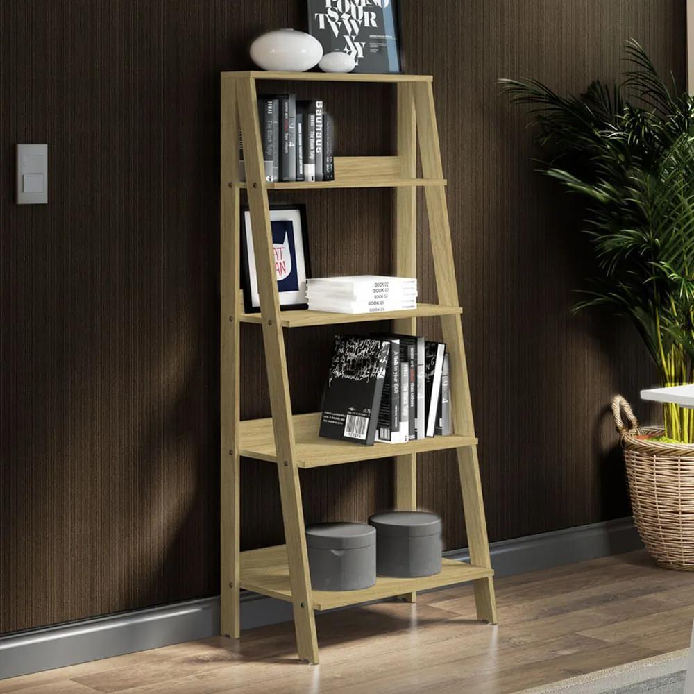 Estante Escada para Livros com 4 Prateleiras Madesa Carvalho Cor:Carvalho