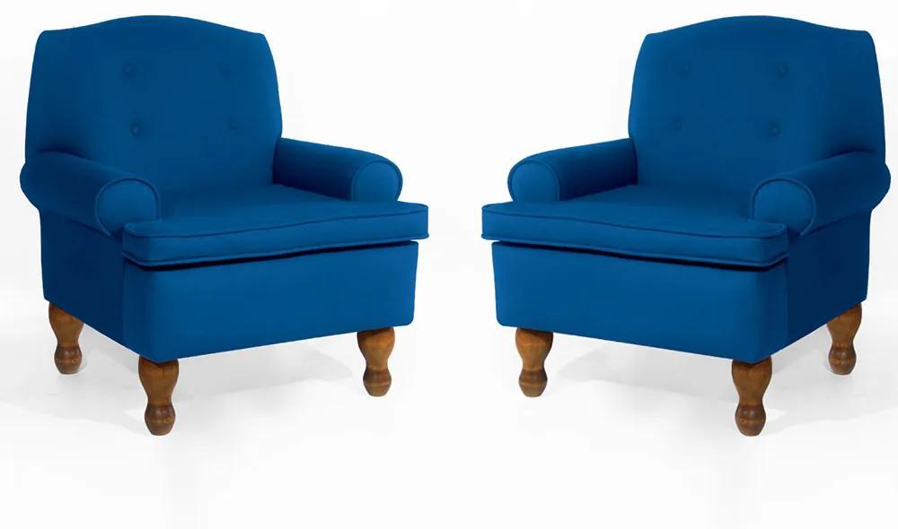 Conjunto 2 Poltrona Vovó Lucy Decorativa Luxo Suede Azul Royal