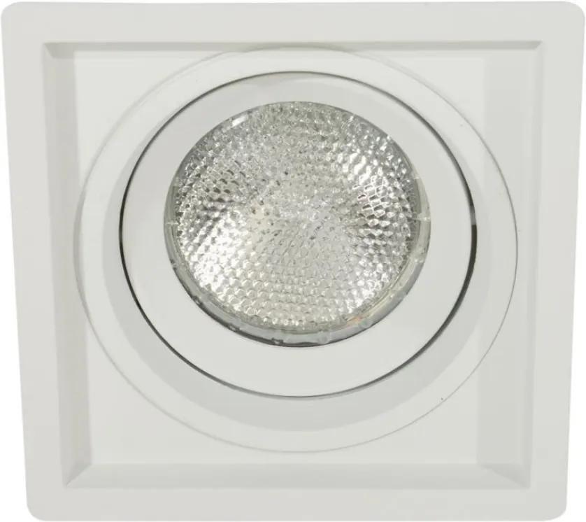 Plafon Embutir Aluminio Branco Par20 E27 Recuado