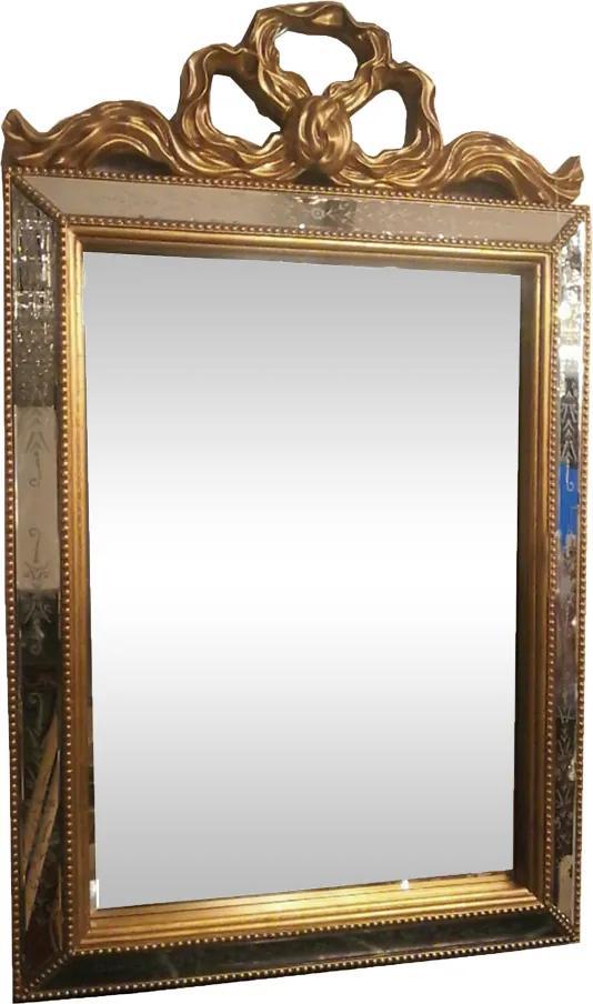 Espelho com Moldura Clássica Dourada e Espelhada - 135x5x83cm