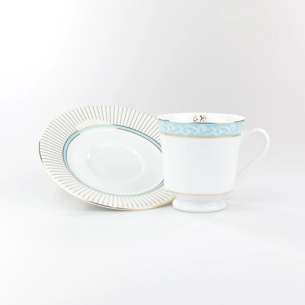 Conjunto de Xicaras para Chá c/ Pires Porcelana Schmidt 06 Peças - Dec. Audrey