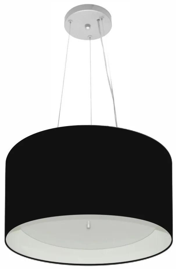 Lustre Pendente Cilíndrico Md-4319 Cúpula Forrada em Tecido 40x25cm Preto / Branco - Bivolt