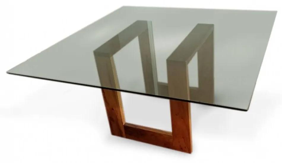 Mesa de Jantar Design 8 Lugares Quadrada Tampo de Vidro Design Retrô