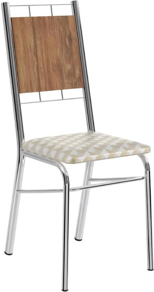 Cadeira Tubo Cromado Encosto Native Tecido Estampado Carraro