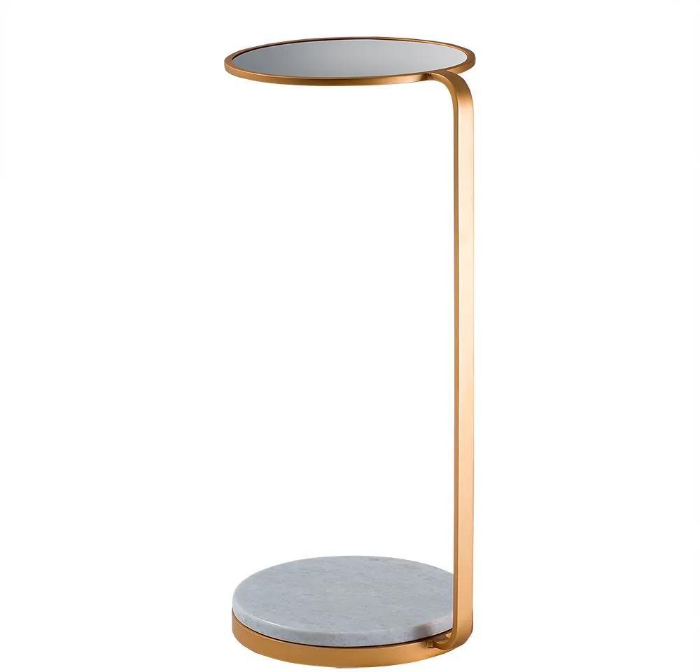 Mesa de Aproximação Drink 30cm Aço Dourado/Mármore Branco/Espelho - Gran Belo
