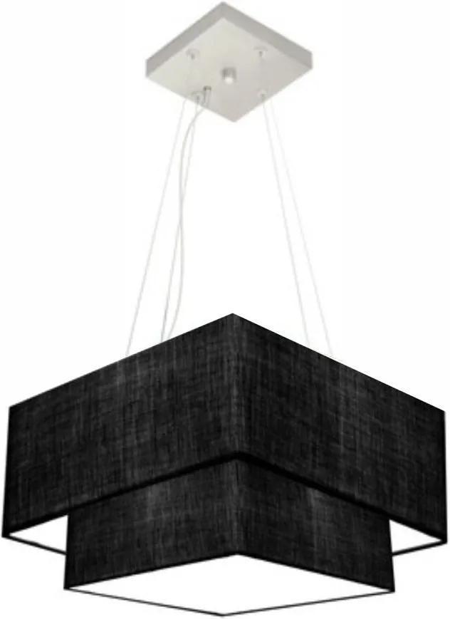 Lustre Pendente Duplo Quadrado Vivare Md-4157 Cúpula em Tecido 40x35cm Preto - Bivolt