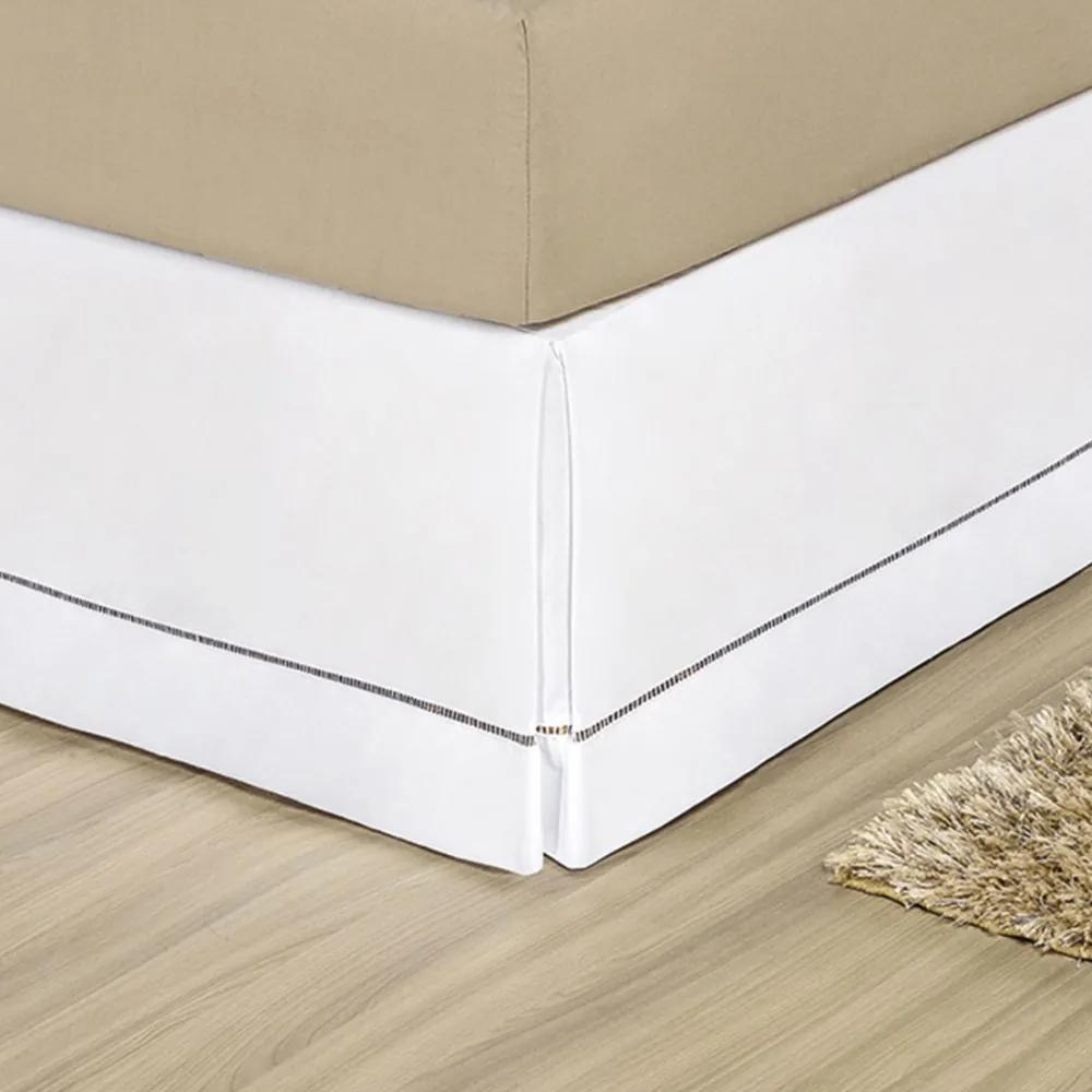 Saia Cama Box Solteiro Bia 1 Peça - Branca Branco