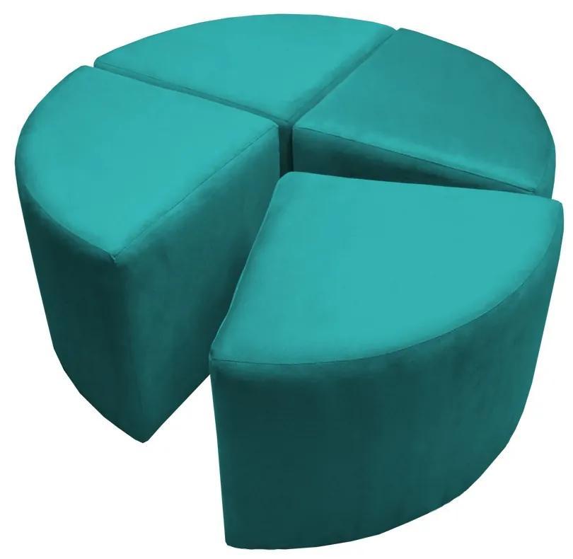 Puff Decorativo Acoplável 04 Lugares Puzzle Suede Azul Tiffany