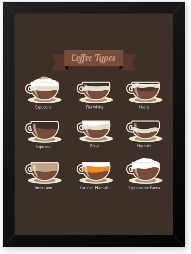 Quadro Decorativo 23x33cm Nerderia e Lojaria graos cafe tipos preto
