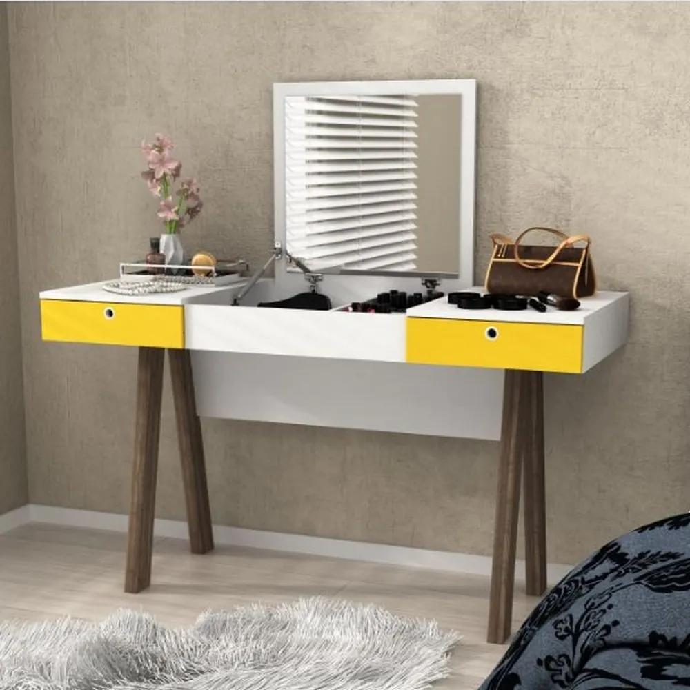 Penteadeira PE2002 Branco/Amarelo - Tecno Mobili