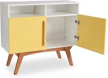 Buffet Branco Medin com 2 Nichos e 2 Portas Coloridas Amarelo