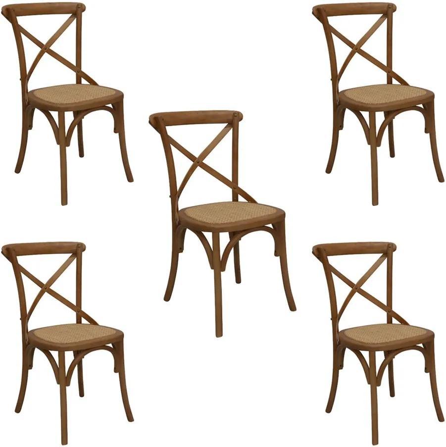 Kit 5 Cadeiras Decorativas Sala De Jantar Cozinha Danna Rattan Natural Bétula- Gran Belo