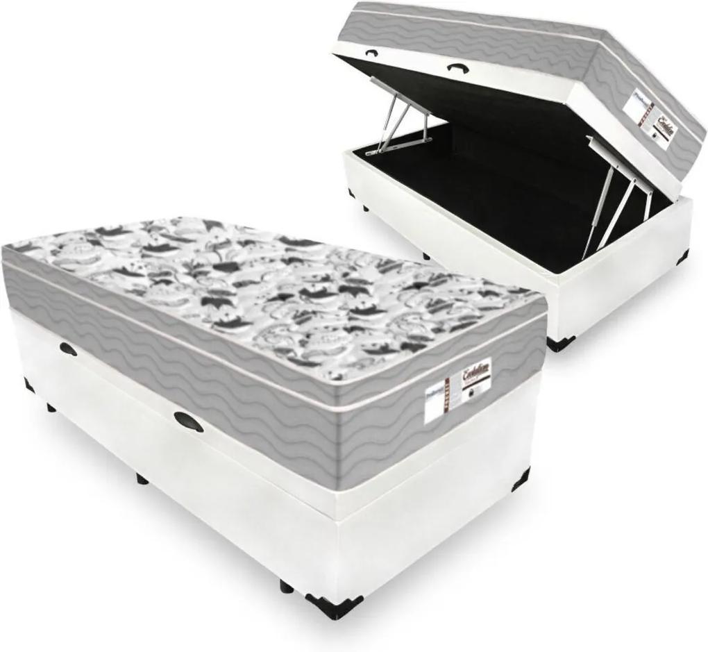 Cama Box Com Baú Solteiro + Colchão De Molas Ensacadas - Probel - Evolution 88x188x74cm Branco