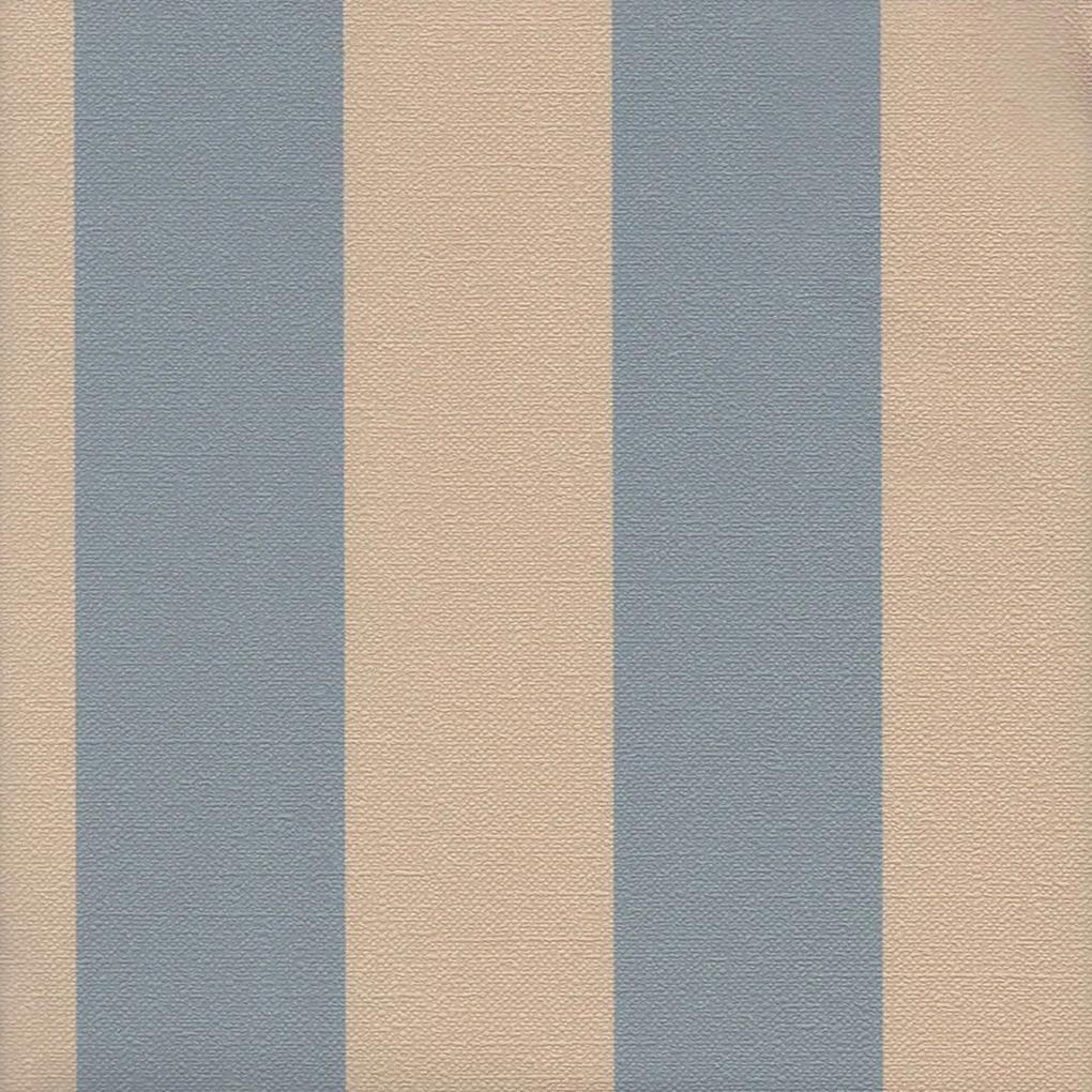 Papel de Parede Listrado Bege e Azul 52cm x 10m Harmonia