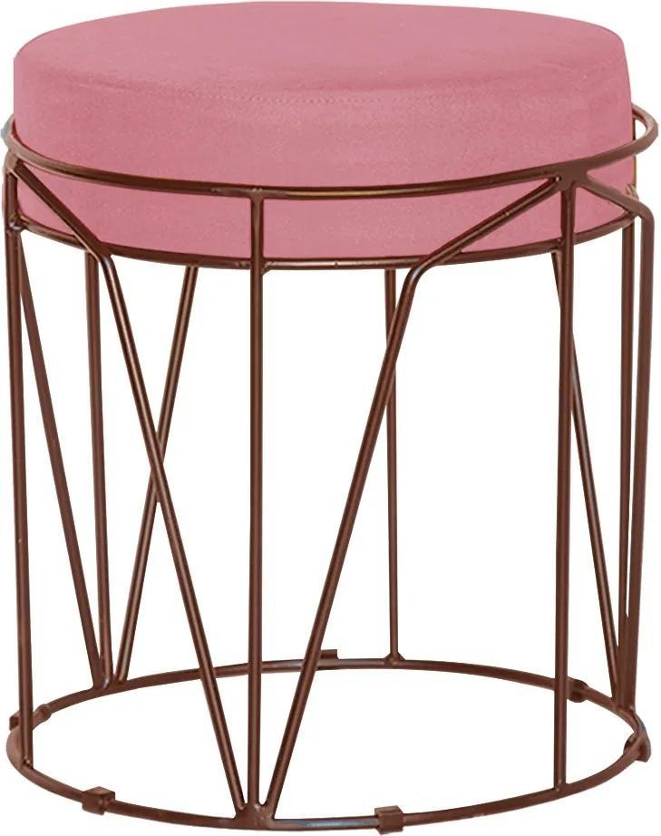 Puff Decorativo Sala de Estar Base Bronze Chloe Suede Rosa - Gran Belo