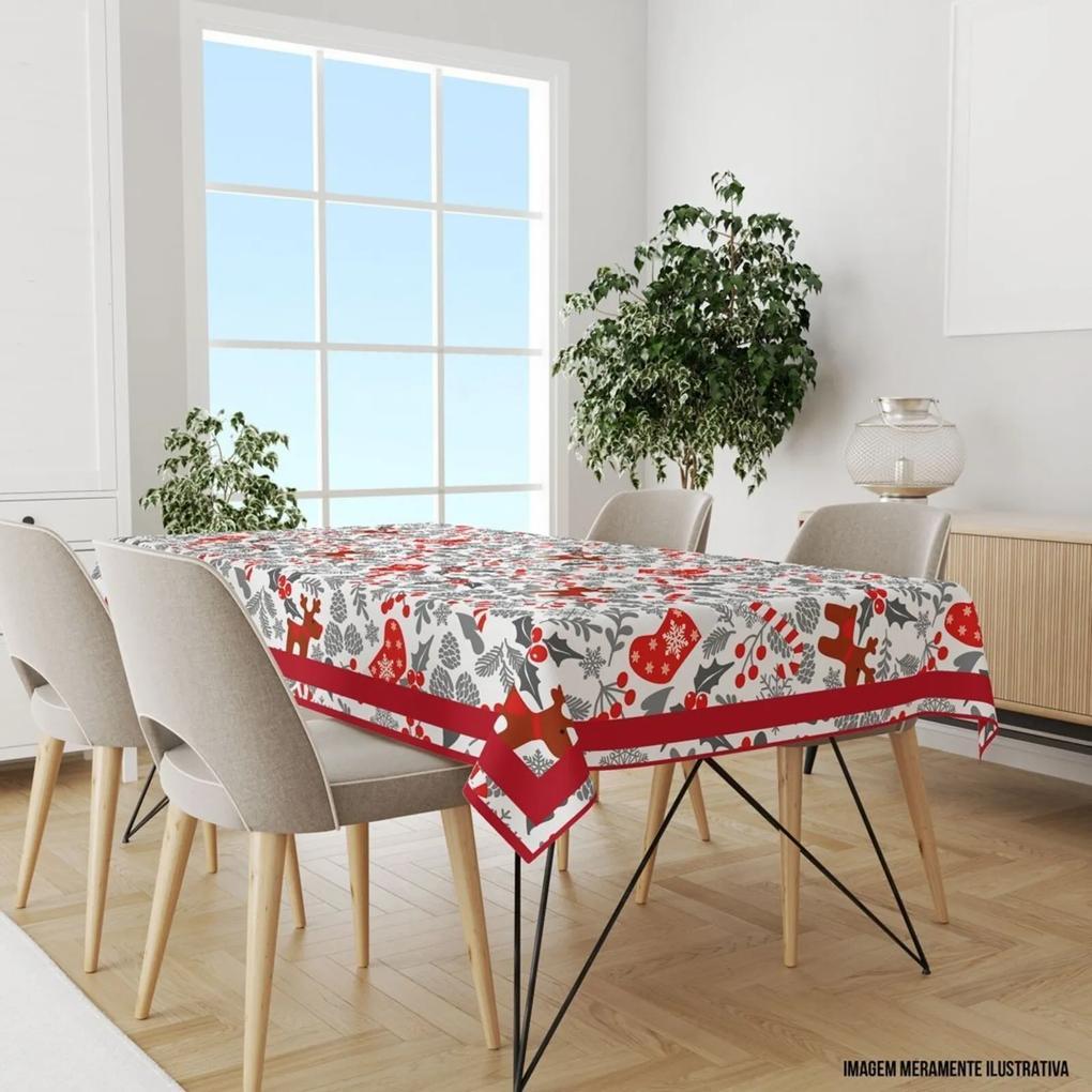 Toalha de Mesa Retangular 10-12 Lugares Elementos Natalinos Vermelho e Cinza 1.45m x 3.20m Único