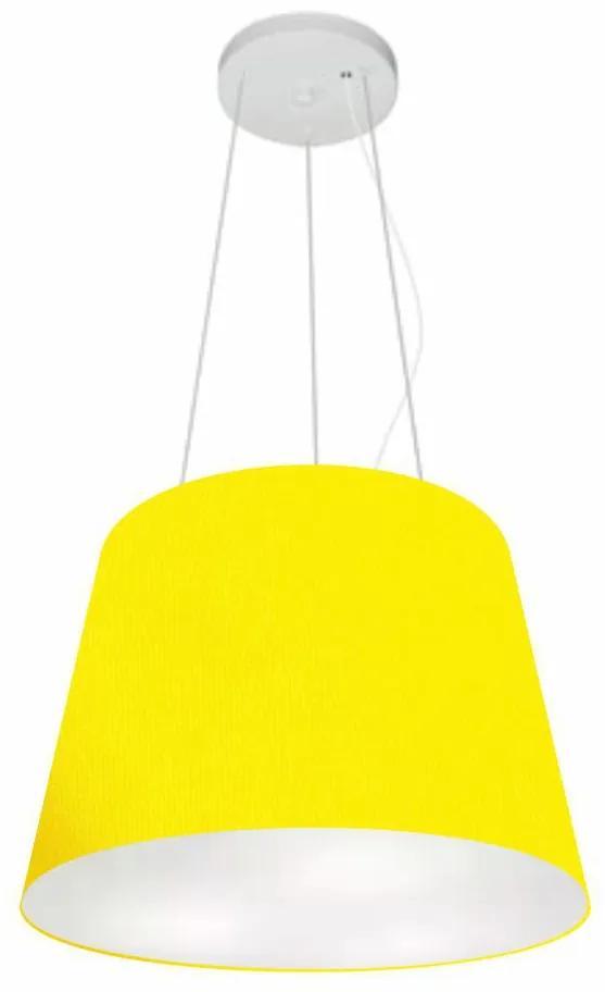 Lustre Pendente Cone Vivare Md-4152 Cúpula em Tecido 30/40x30cm - Bivolt - Amarelo - 110V/220V (Bivolt)