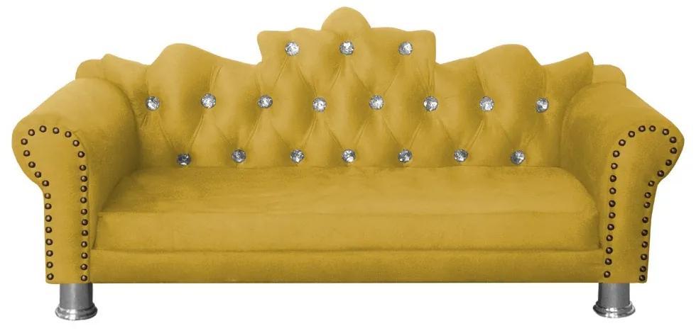 Mini Divã Sofá Realeza Cama Pet para Cães ou Gatos Elegante Suede Amarelo