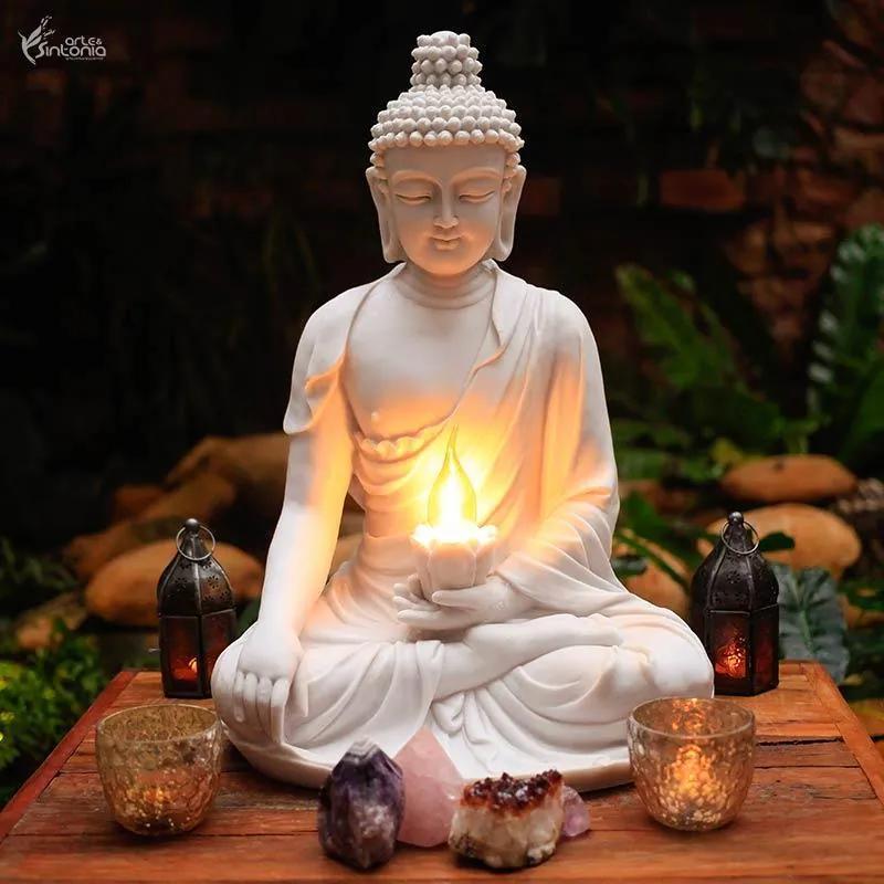 Luminária Buda Tibete em Marmorite