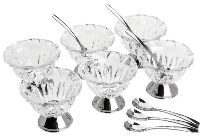 Jogo Bowls Para Sobremesa Cristal 6 Peças Com 6 Colheres Prata Louise 8214 Wolff
