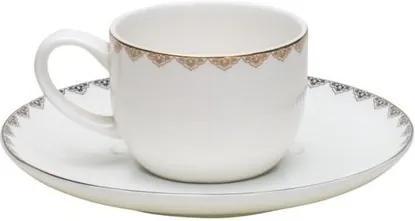 Jogo De Xícaras De Café Porcelana 6 Peças Bone China Minsk Dourado 90ml 17353 Wolff