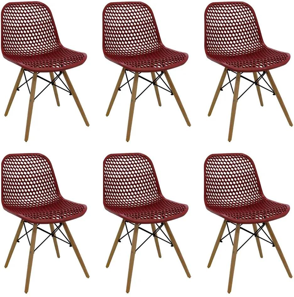 Kit 6 Cadeiras Decorativas Sala e Cozinha Haney (PP) Carmin - Gran Belo