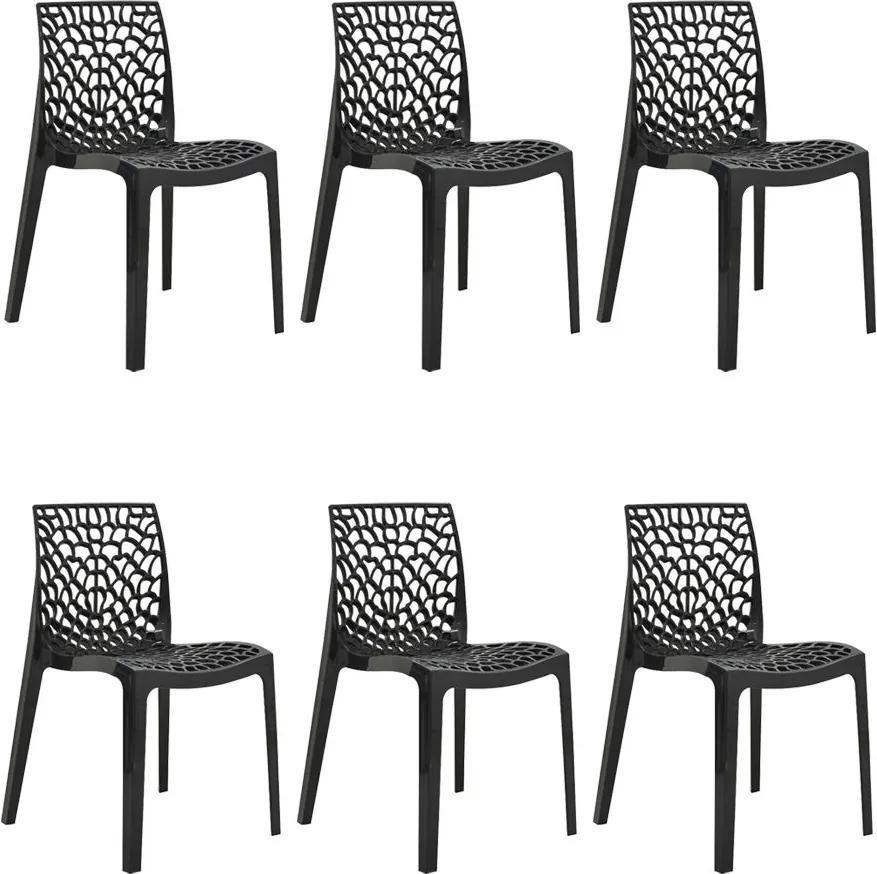 Kit 6 Cadeiras Decorativas Sala e Cozinha Cruzzer (PP) Preta - Gran Belo