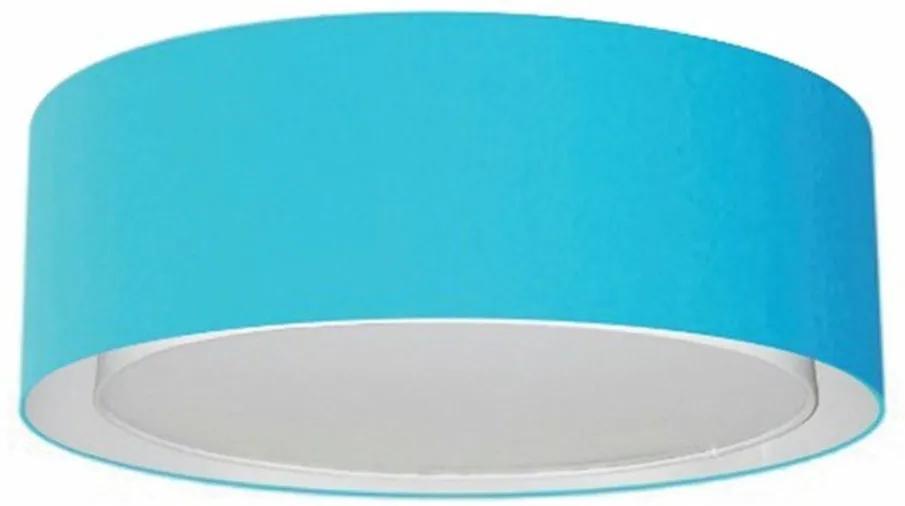 Plafon Duplo Cilíndrico Md-3038 Cúpula em Tecido 80x30cm Azul Turquesa - Bivolt